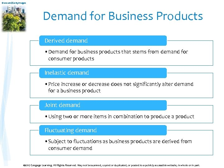 ©wecand/Getty. Images Demand for Business Products Derived demand • Demand for business products that