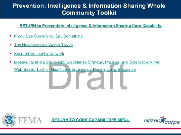 Prevention: Intelligence & Information Sharing Whole Community Toolkit RETURN to Prevention: Intelligence & Information