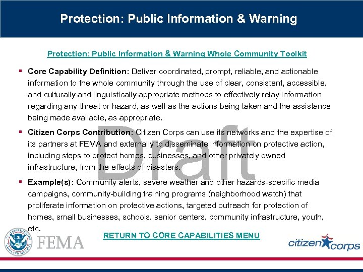 Protection: Public Information & Warning Whole Community Toolkit § Core Capability Definition: Deliver coordinated,
