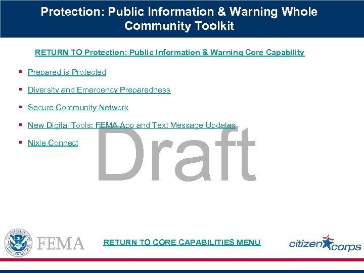 Protection: Public Information & Warning Whole Community Toolkit RETURN TO Protection: Public Information &