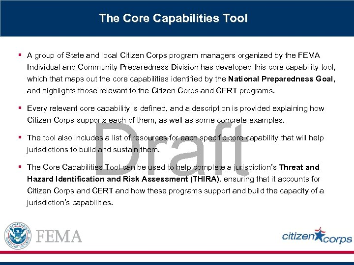 The Core Capabilities Tool § A group of State and local Citizen Corps program
