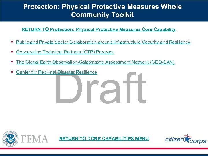 Protection: Physical Protective Measures Whole Community Toolkit RETURN TO Protection: Physical Protective Measures Core