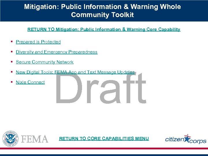 Mitigation: Public Information & Warning Whole Community Toolkit RETURN TO Mitigation: Public Information &