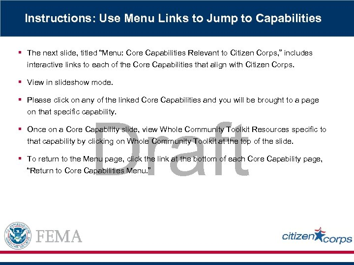 """Instructions: Use Menu Links to Jump to Capabilities § The next slide, titled """"Menu:"""