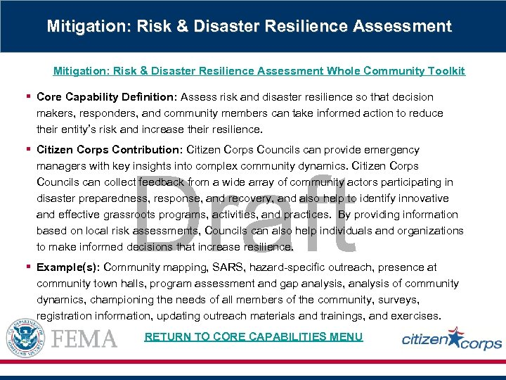 Mitigation: Risk & Disaster Resilience Assessment Whole Community Toolkit § Core Capability Definition: Assess