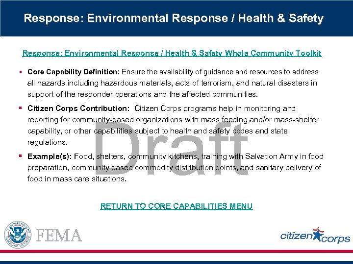 Response: Environmental Response / Health & Safety Whole Community Toolkit § Core Capability Definition: