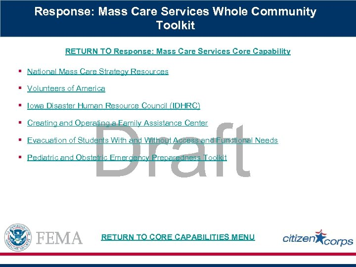 Response: Mass Care Services Whole Community Toolkit RETURN TO Response: Mass Care Services Core