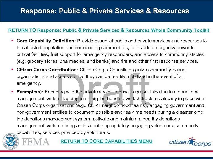 Response: Public & Private Services & Resources RETURN TO Response: Public & Private Services