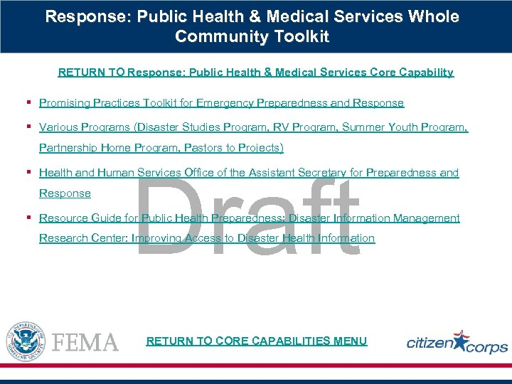 Response: Public Health & Medical Services Whole Community Toolkit RETURN TO Response: Public Health