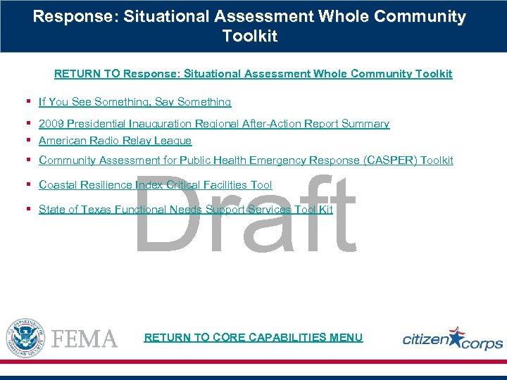 Response: Situational Assessment Whole Community Toolkit RETURN TO Response: Situational Assessment Whole Community Toolkit