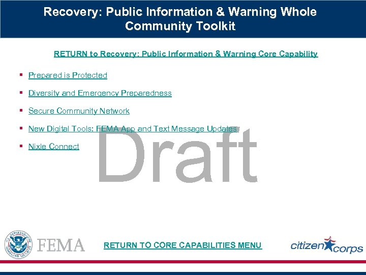 Recovery: Public Information & Warning Whole Community Toolkit RETURN to Recovery: Public Information &