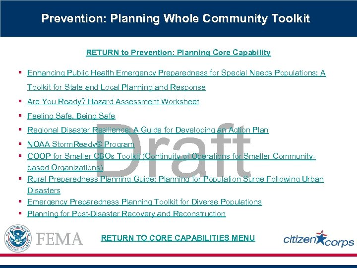 Prevention: Planning Whole Community Toolkit RETURN to Prevention: Planning Core Capability § Enhancing Public