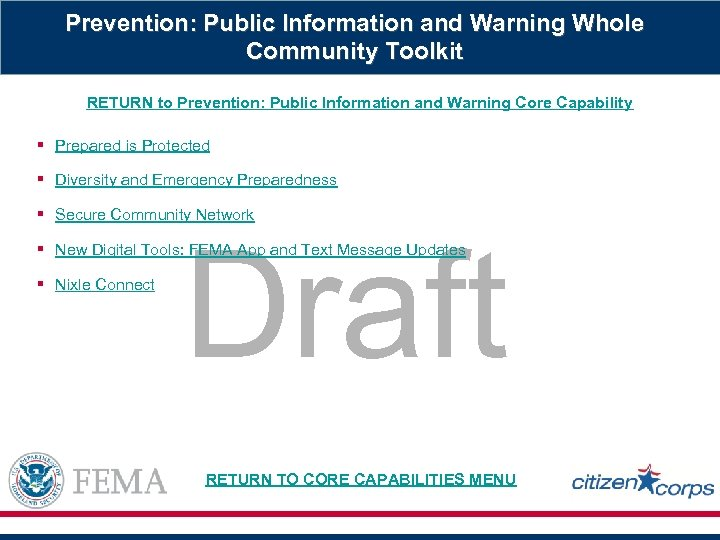 Prevention: Public Information and Warning Whole Community Toolkit RETURN to Prevention: Public Information and