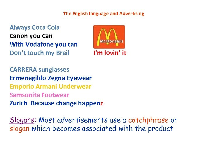 The English language and Advertising Always Coca Cola Canon you Can With Vodafone you