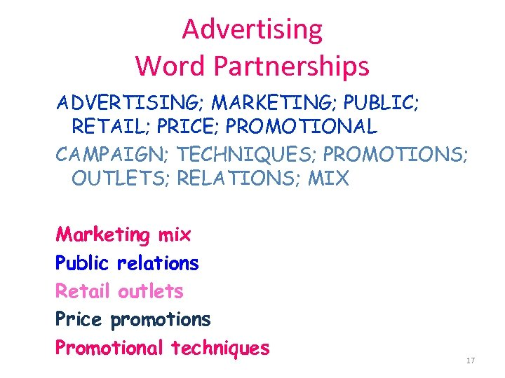 Advertising Word Partnerships ADVERTISING; MARKETING; PUBLIC; RETAIL; PRICE; PROMOTIONAL CAMPAIGN; TECHNIQUES; PROMOTIONS; OUTLETS; RELATIONS;