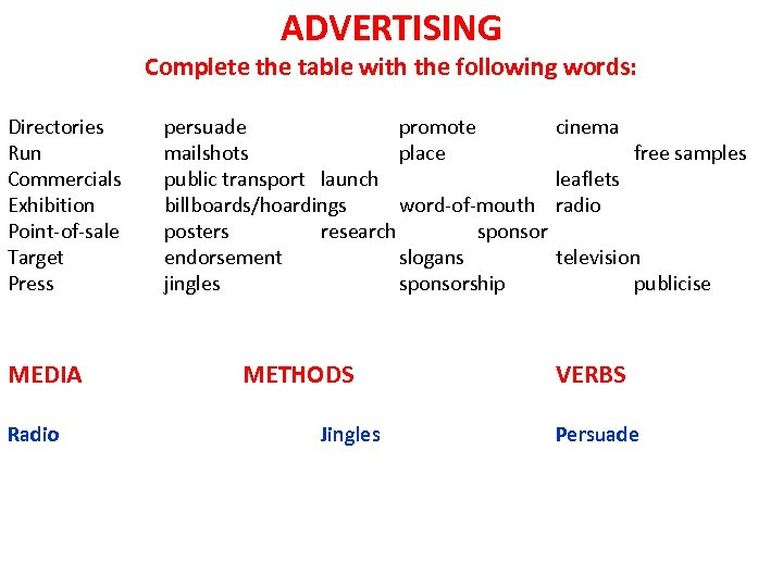 ADVERTISING Complete the table with the following words: Directories Run Commercials Exhibition Point-of-sale Target