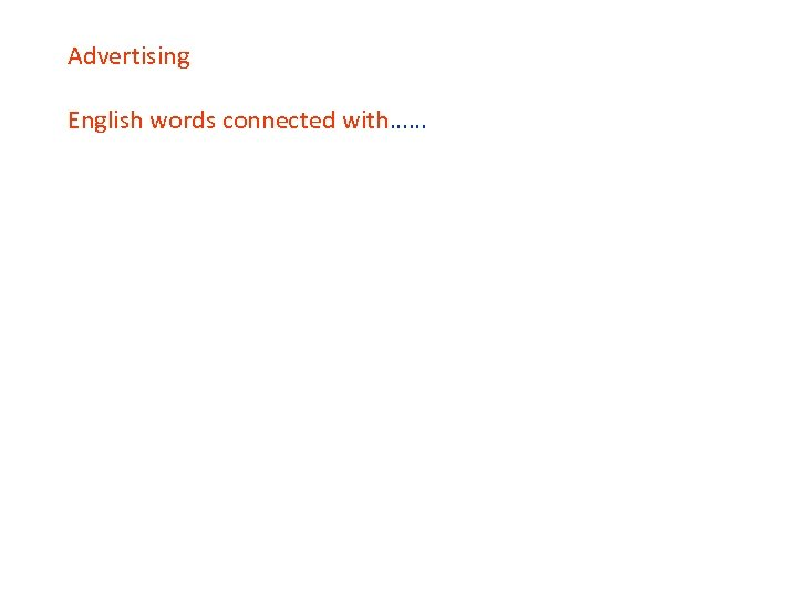 Advertising English words connected with……