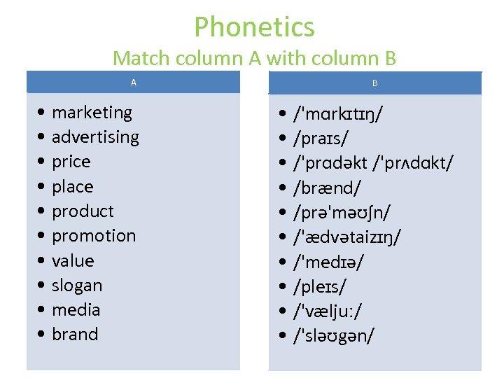 Phonetics Match column A with column B A • marketing • advertising • price
