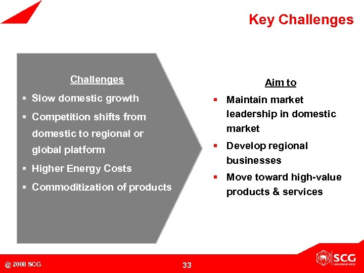 Key Challenges Aim to § Slow domestic growth § Maintain market leadership in domestic