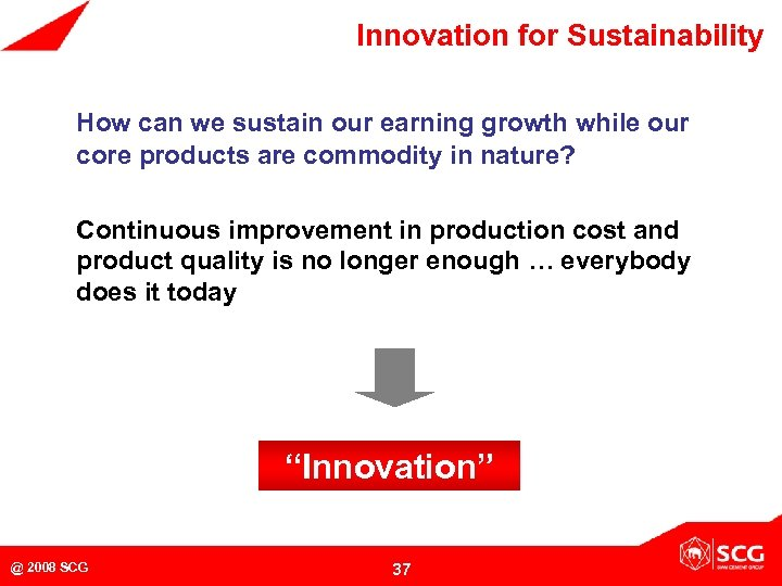 Innovation for Sustainability How can we sustain our earning growth while our core products