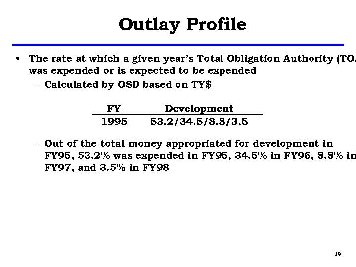 Outlay Profile • The rate at which a given year's Total Obligation Authority (TOA