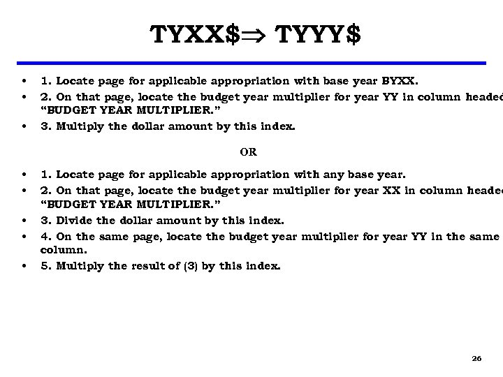 TYXX$ TYYY$ • • • 1. Locate page for applicable appropriation with base year