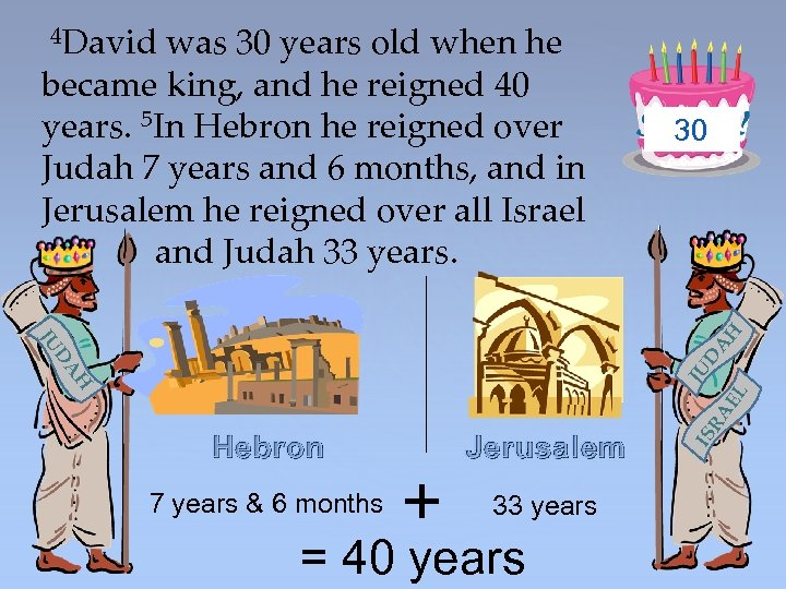 30 Hebron 7 years & 6 months + Jerusalem 33 years = 40