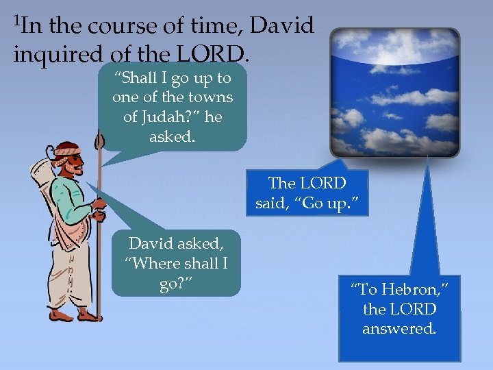 "1 In the course of time, David inquired of the LORD. ""Shall I go"