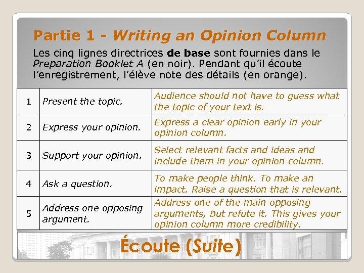 Partie 1 - Writing an Opinion Column Les cinq lignes directrices de base sont