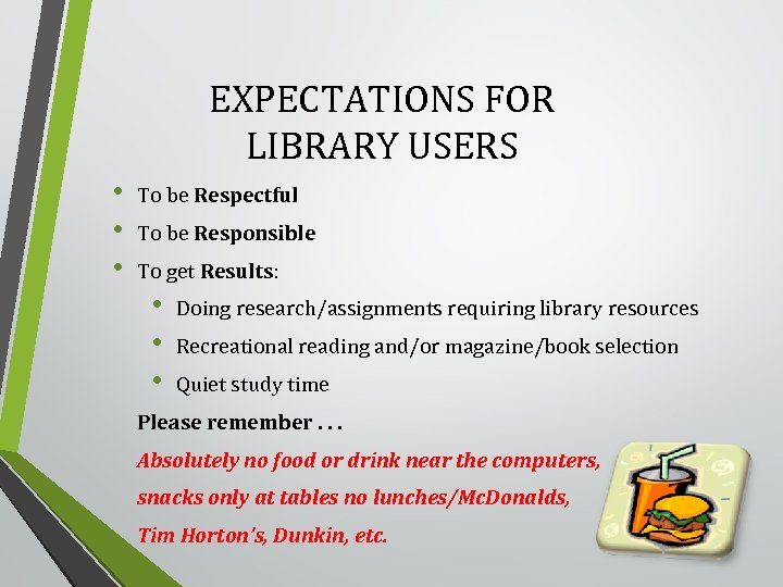 EXPECTATIONS FOR LIBRARY USERS • • • To be Respectful To be Responsible To