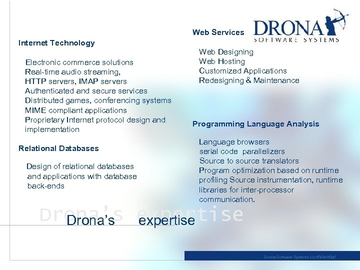 Web Services Internet Technology Electronic commerce solutions Real-time audio streaming, HTTP servers, IMAP servers