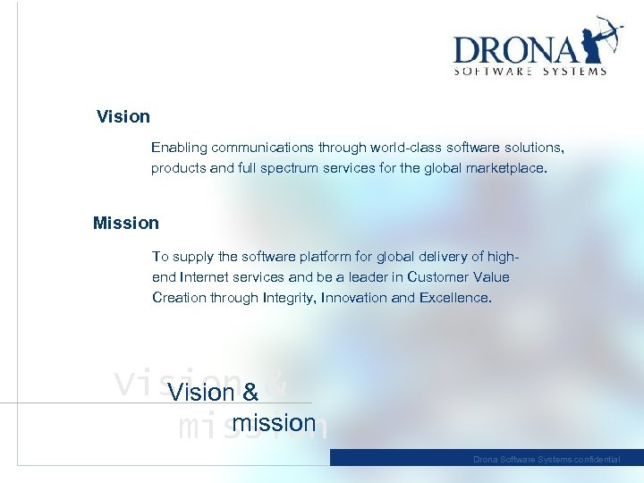 Vision Enabling communications through world-class software solutions, products and full spectrum services for the