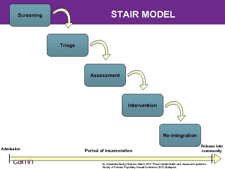 STAIR MODEL Screening Triage Assessment Intervention Re-Integration Admission Period of Incarceration Release into community