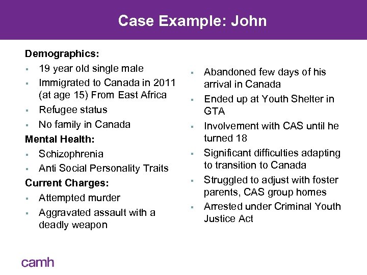 Case Example: John Demographics: § 19 year old single male § Immigrated to Canada