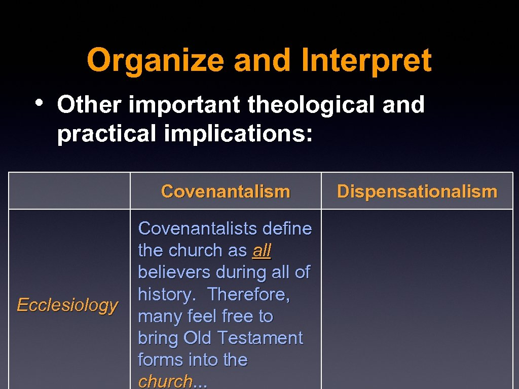 Organize and Interpret • Other important theological and practical implications: Covenantalism Ecclesiology Covenantalists define