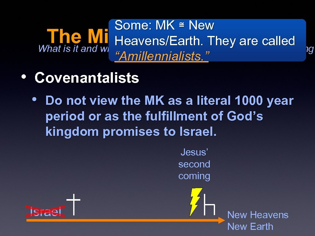 Some: MK ≅ New The Millennial Kingdom Coming? Heavens/Earth. They are called What is