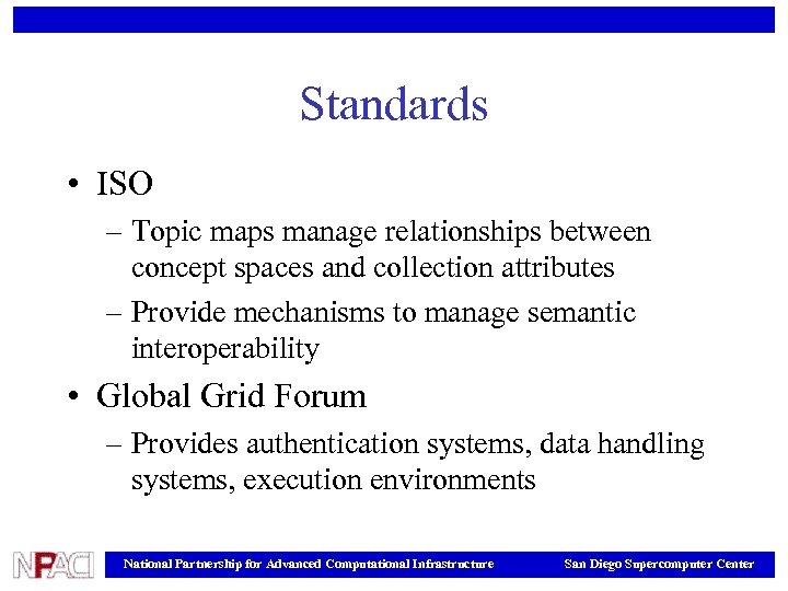 Standards • ISO – Topic maps manage relationships between concept spaces and collection attributes