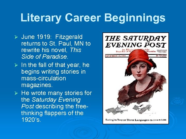 Literary Career Beginnings June 1919: Fitzgerald returns to St. Paul, MN to rewrite his