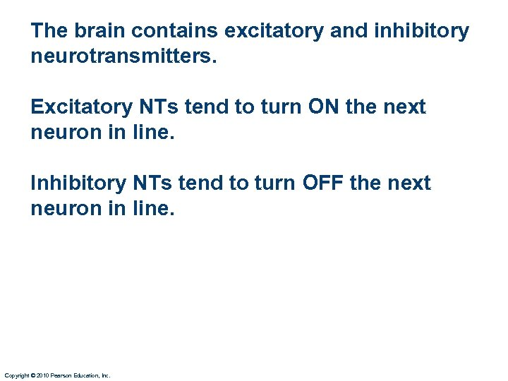 The brain contains excitatory and inhibitory neurotransmitters. Excitatory NTs tend to turn ON the