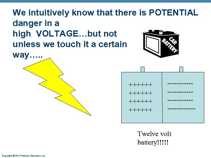 We intuitively know that there is POTENTIAL danger in a high VOLTAGE…but not unless