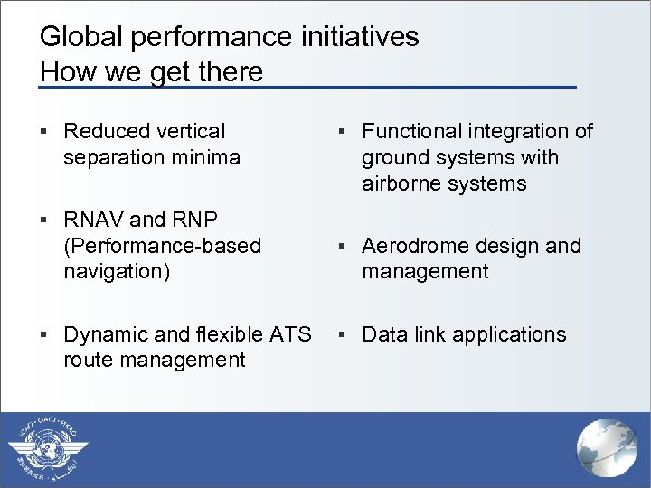 Global performance initiatives How we get there § Reduced vertical separation minima § Functional