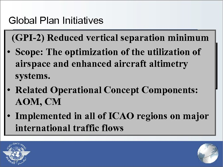 Global Plan Initiatives (GPI-2) Reduced vertical separation minimum § (GPI-1) Flexible use of airspace