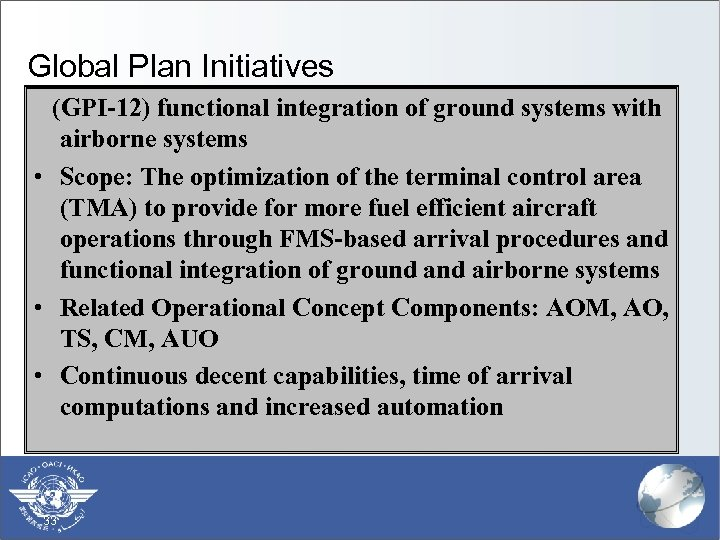 Global Plan Initiatives (GPI-12) functional integration of ground systems with airborne systems • Scope: