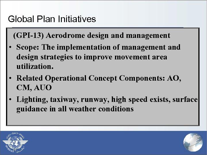 Global Plan Initiatives (GPI-13) Aerodrome design and management • Scope: The implementation of management