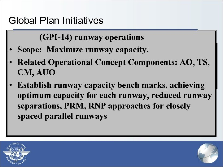 Global Plan Initiatives (GPI-14) runway operations § (GPI-1) Flexible use of airspace • Scope: