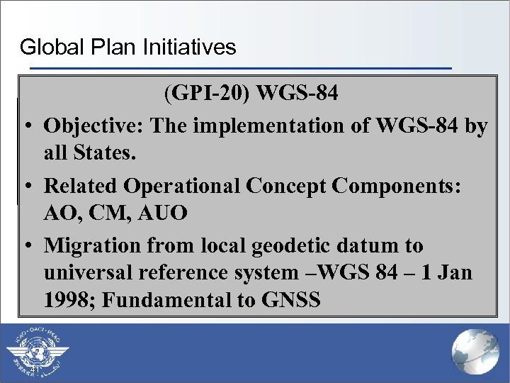 Global Plan Initiatives (GPI-20) WGS-84 § (GPI-1) Flexible use of airspace § Scope: The