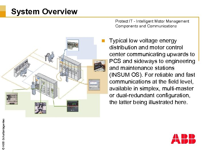 System Overview Protect IT - Intelligent Motor Management Components and Communications © ABB Schaltanlagentechnik