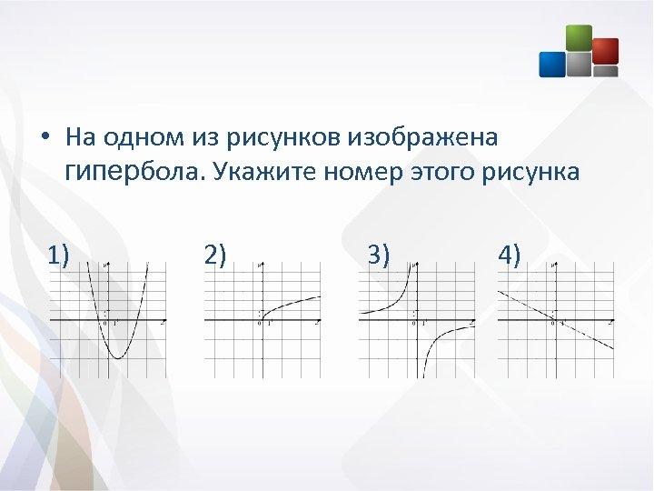 • На одном из рисунков изображена гипербола. Укажите номер этого рисунка 1) 2)