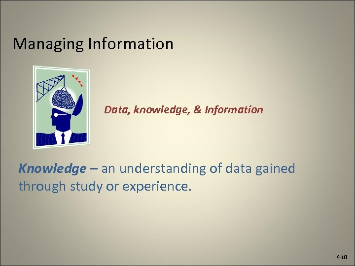Managing Information Data, knowledge, & Information Knowledge – an understanding of data gained through