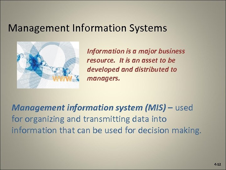 Management Information Systems Information is a major business resource. It is an asset to